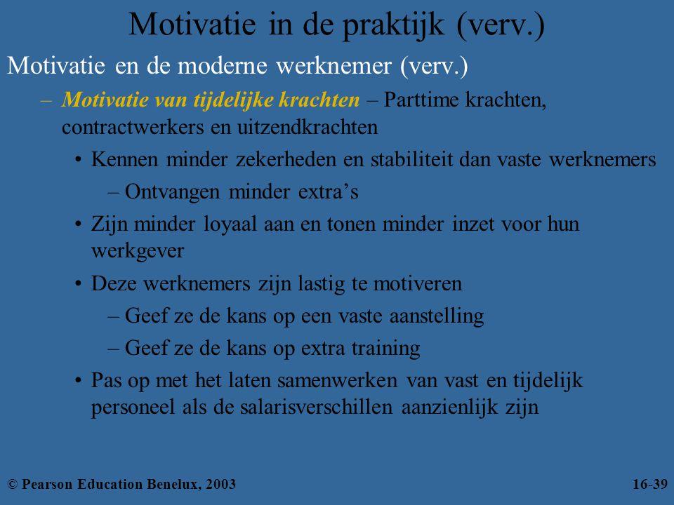 Motivatie in de praktijk (verv.) Motivatie en de moderne werknemer (verv.) –Motivatie van tijdelijke krachten – Parttime krachten, contractwerkers en