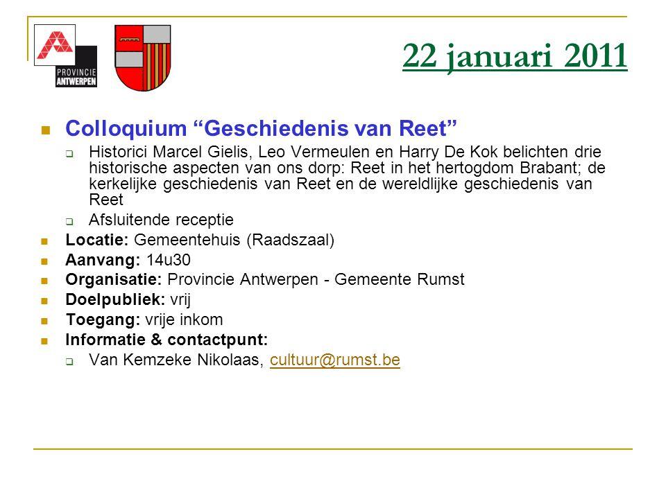 """ Colloquium """"Geschiedenis van Reet""""  Historici Marcel Gielis, Leo Vermeulen en Harry De Kok belichten drie historische aspecten van ons dorp: Reet i"""