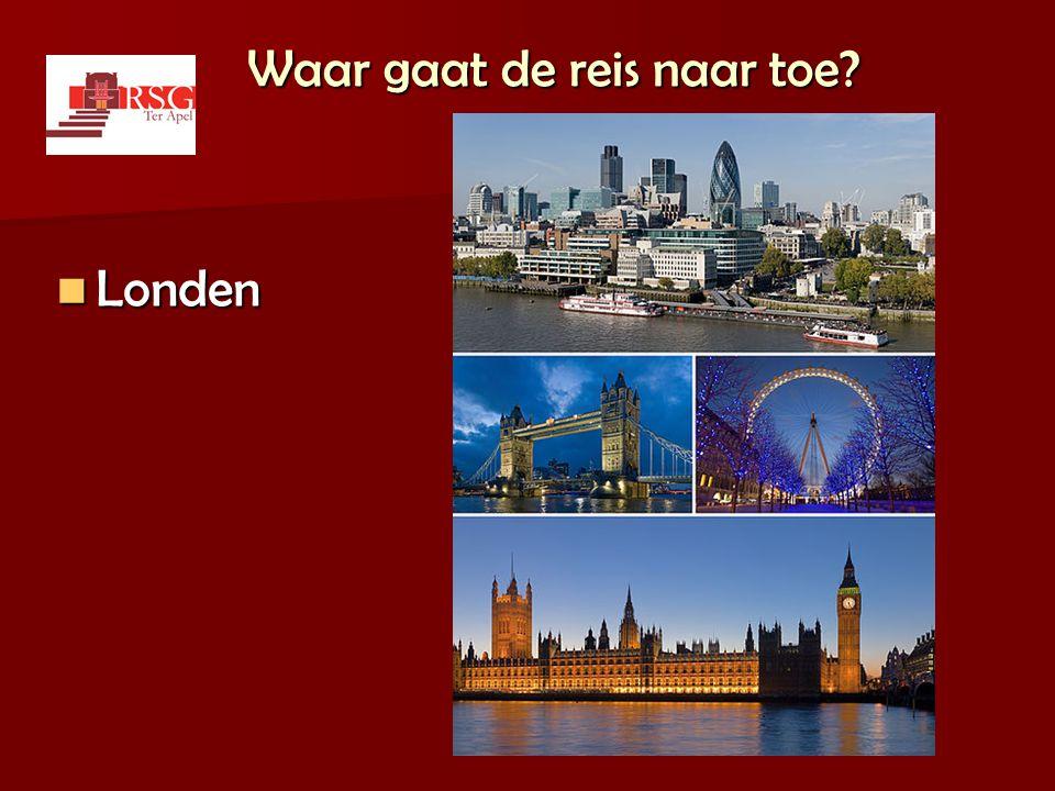 De reis  Maandag 9 mei 2011 t/m vrijdag 13 mei 2011  54 leerlingen + 6 begeleiders  Highlights van Londen bezichtigen.