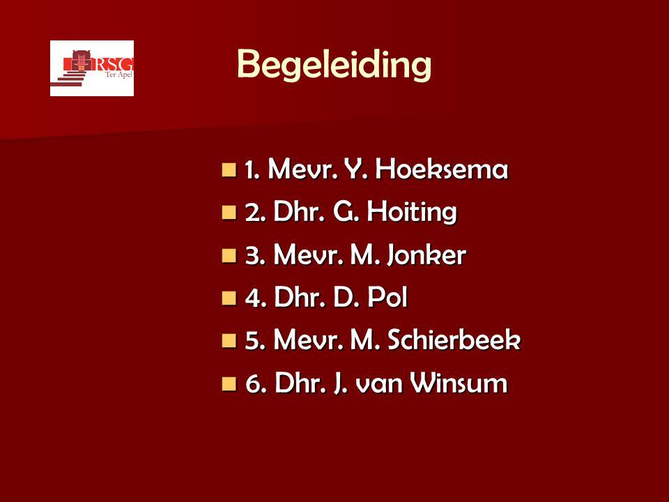 Begeleiding  1. Mevr. Y. Hoeksema  2. Dhr. G. Hoiting  3. Mevr. M. Jonker  4. Dhr. D. Pol  5. Mevr. M. Schierbeek  6. Dhr. J. van Winsum