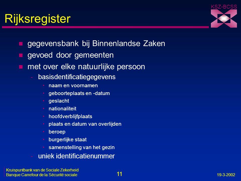 11 Kruispuntbank van de Sociale Zekerheid Banque Carrefour de la Sécurité sociale19-3-2002 KSZ-BCSS Rijksregister n gegevensbank bij Binnenlandse Zake
