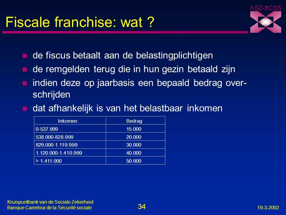 34 Kruispuntbank van de Sociale Zekerheid Banque Carrefour de la Sécurité sociale19-3-2002 KSZ-BCSS Fiscale franchise: wat ? n de fiscus betaalt aan d