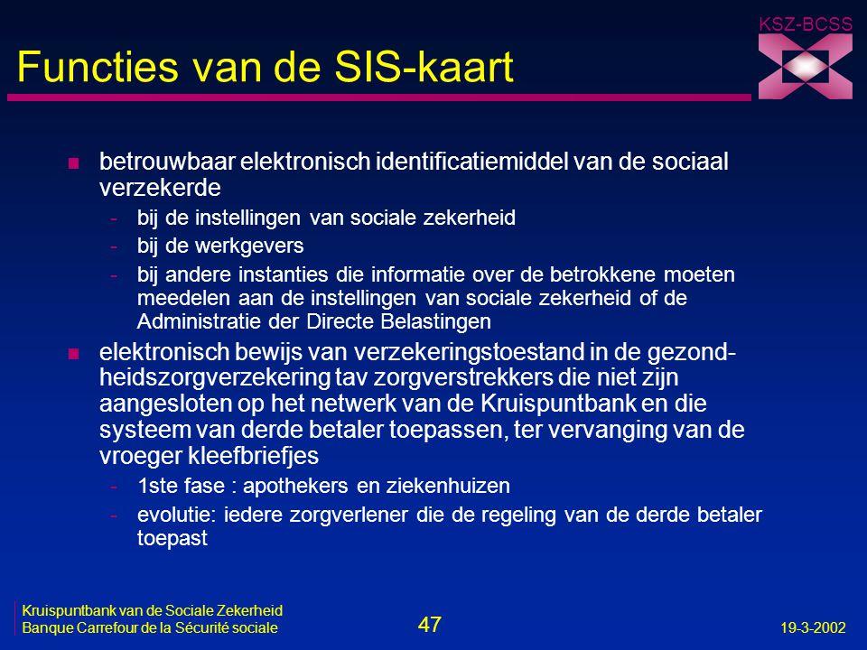 47 Kruispuntbank van de Sociale Zekerheid Banque Carrefour de la Sécurité sociale19-3-2002 KSZ-BCSS Functies van de SIS-kaart n betrouwbaar elektronis