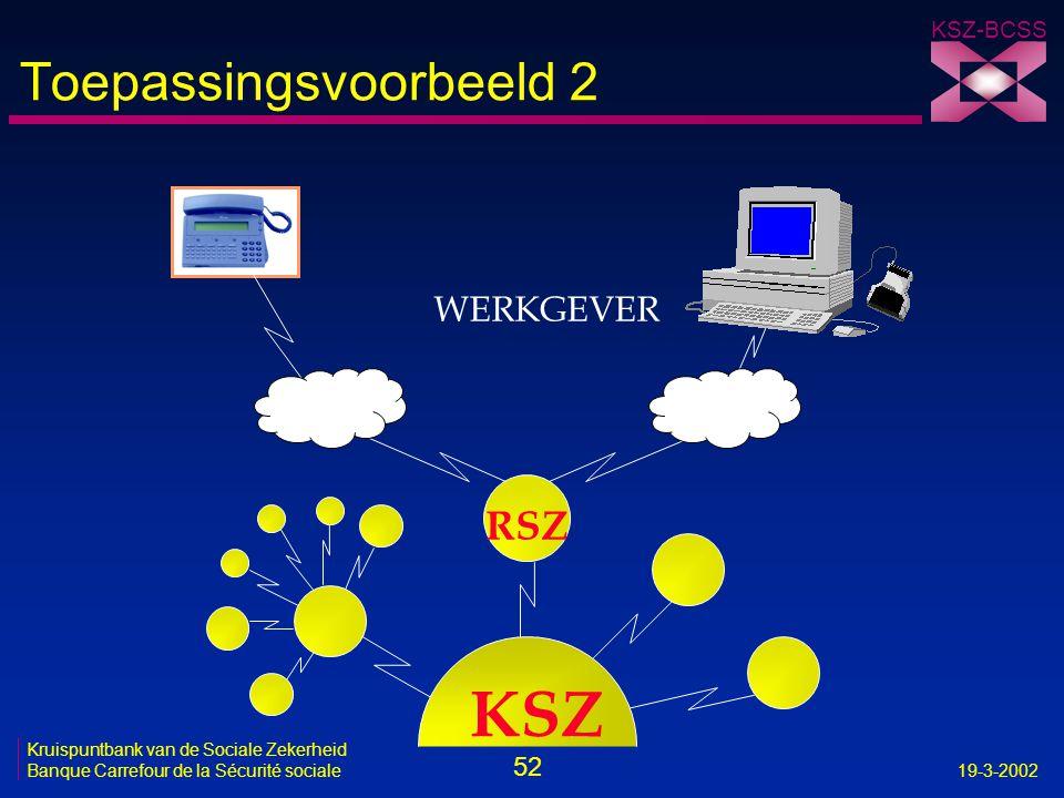 52 Kruispuntbank van de Sociale Zekerheid Banque Carrefour de la Sécurité sociale19-3-2002 KSZ-BCSS RSZ WERKGEVER KSZ Toepassingsvoorbeeld 2