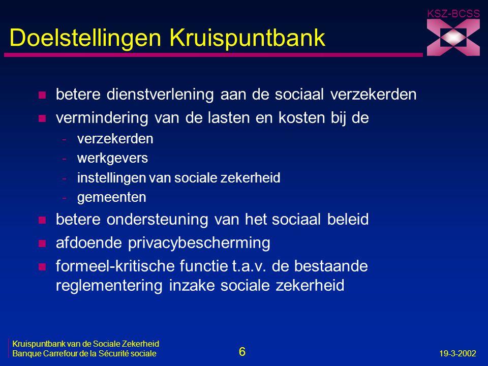 6 Kruispuntbank van de Sociale Zekerheid Banque Carrefour de la Sécurité sociale19-3-2002 KSZ-BCSS Doelstellingen Kruispuntbank n betere dienstverleni