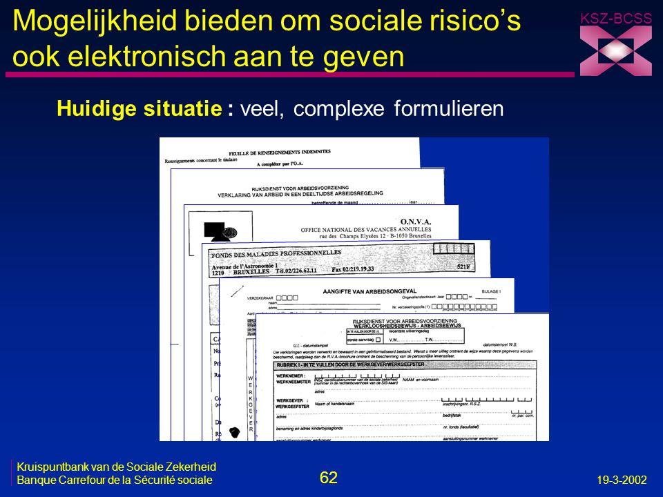62 Kruispuntbank van de Sociale Zekerheid Banque Carrefour de la Sécurité sociale19-3-2002 KSZ-BCSS Mogelijkheid bieden om sociale risico's ook elektr