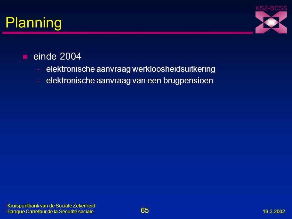 65 Kruispuntbank van de Sociale Zekerheid Banque Carrefour de la Sécurité sociale19-3-2002 KSZ-BCSS Planning n einde 2004 -elektronische aanvraag werk