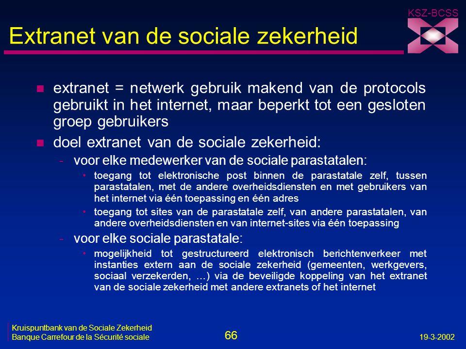 66 Kruispuntbank van de Sociale Zekerheid Banque Carrefour de la Sécurité sociale19-3-2002 KSZ-BCSS Extranet van de sociale zekerheid n extranet = net