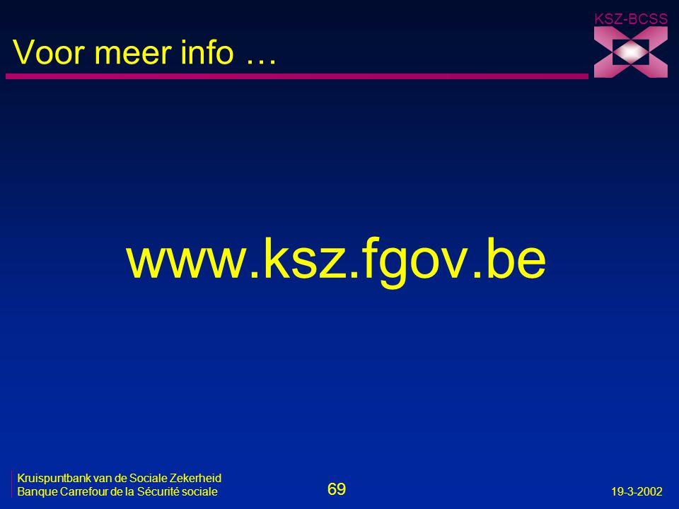 69 Kruispuntbank van de Sociale Zekerheid Banque Carrefour de la Sécurité sociale19-3-2002 KSZ-BCSS Voor meer info … www.ksz.fgov.be