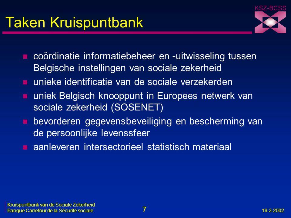 7 Kruispuntbank van de Sociale Zekerheid Banque Carrefour de la Sécurité sociale19-3-2002 KSZ-BCSS Taken Kruispuntbank n coördinatie informatiebeheer