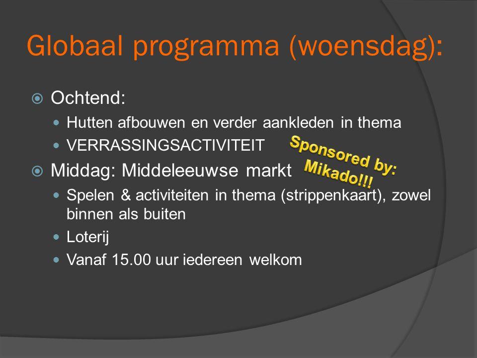 Globaal programma (woensdag):  Ochtend:  Hutten afbouwen en verder aankleden in thema  VERRASSINGSACTIVITEIT  Middag: Middeleeuwse markt  Spelen