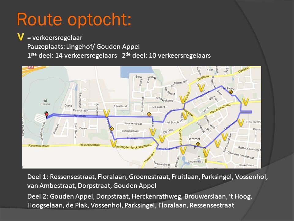 Deel 1: Ressensestraat, Floralaan, Groenestraat, Fruitlaan, Parksingel, Vossenhol, van Ambestraat, Dorpstraat, Gouden Appel Deel 2: Gouden Appel, Dorp