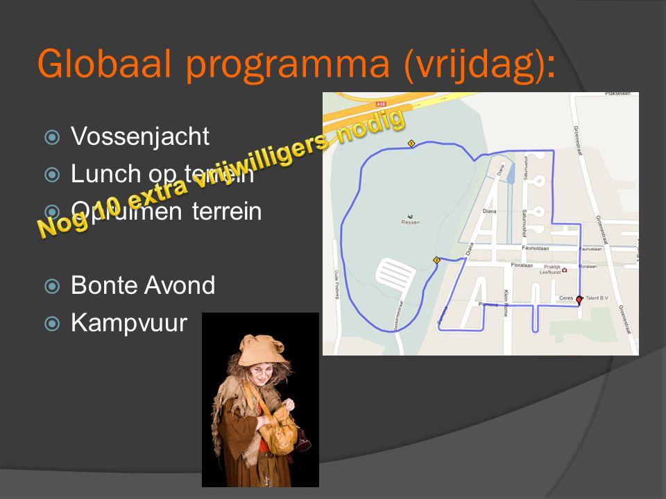 Globaal programma (vrijdag):  Vossenjacht  Lunch op terrein  Opruimen terrein  Bonte Avond  Kampvuur