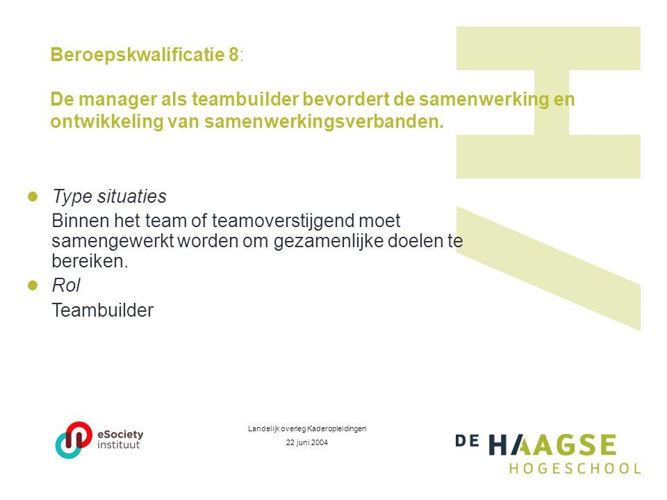 Beroepskwalificatie 8: De manager als teambuilder bevordert de samenwerking en ontwikkeling van samenwerkingsverbanden.