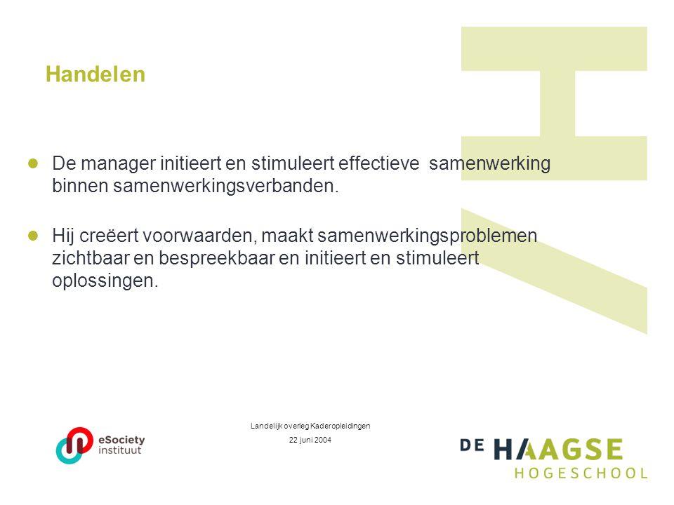 Handelen  De manager initieert en stimuleert effectieve samenwerking binnen samenwerkingsverbanden.