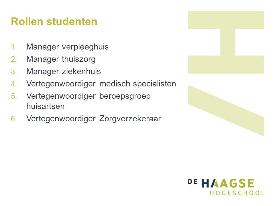 Rollen studenten 1. Manager verpleeghuis 2. Manager thuiszorg 3.