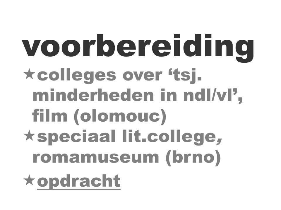 voorbereiding  colleges over 'tsj.