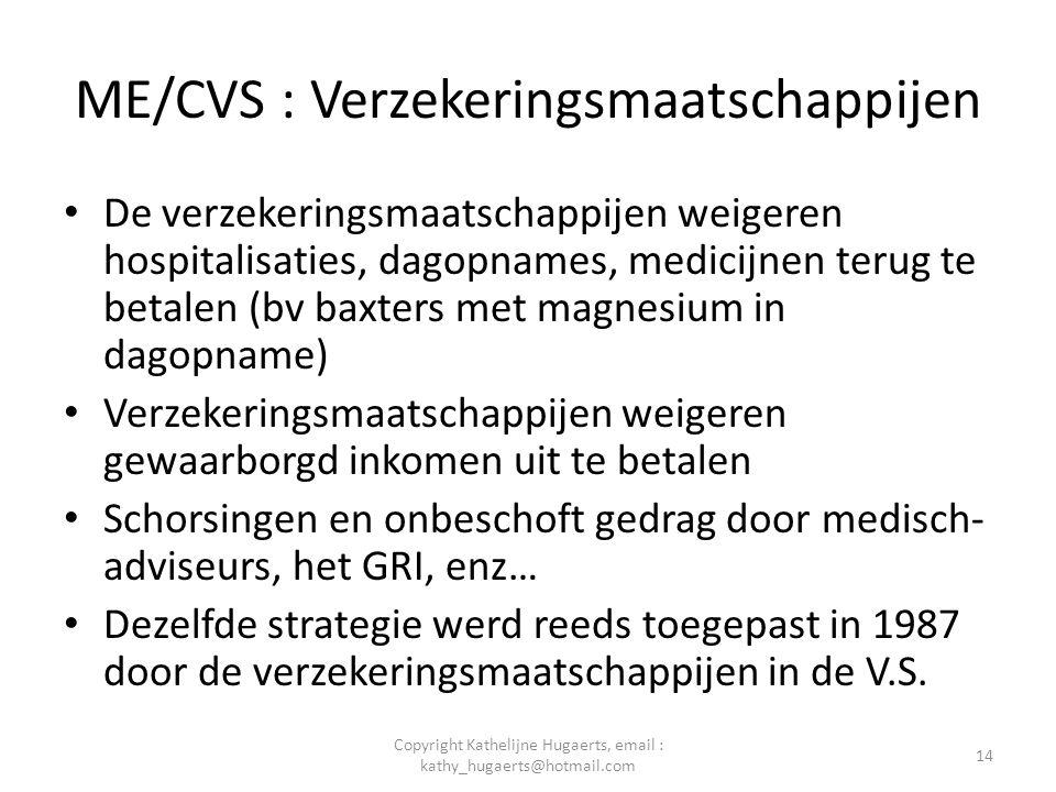ME/CVS : Verzekeringsmaatschappijen • De verzekeringsmaatschappijen weigeren hospitalisaties, dagopnames, medicijnen terug te betalen (bv baxters met