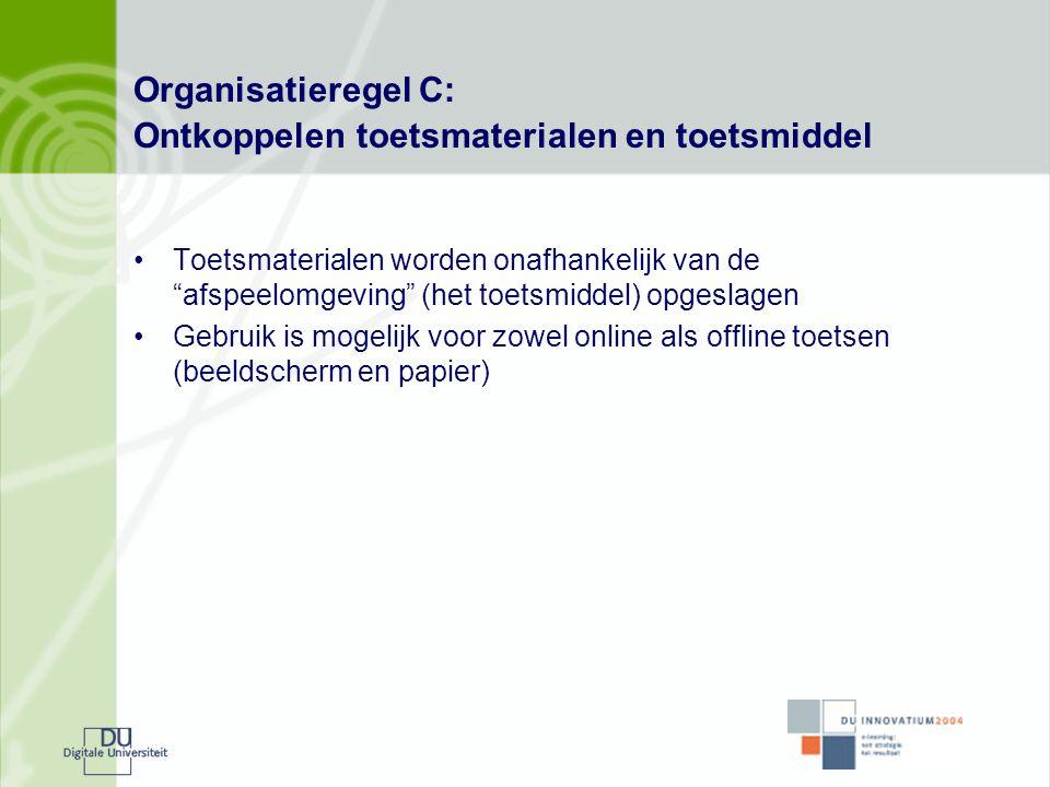 """Organisatieregel C: Ontkoppelen toetsmaterialen en toetsmiddel •Toetsmaterialen worden onafhankelijk van de """"afspeelomgeving"""" (het toetsmiddel) opgesl"""