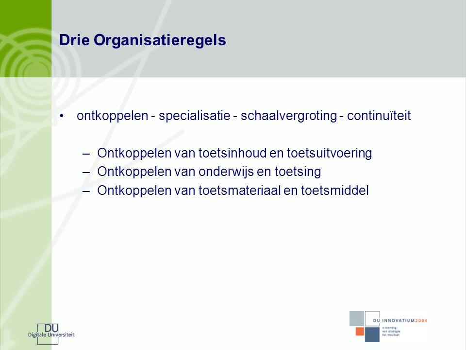 Drie Organisatieregels •ontkoppelen - specialisatie - schaalvergroting - continuïteit –Ontkoppelen van toetsinhoud en toetsuitvoering –Ontkoppelen van