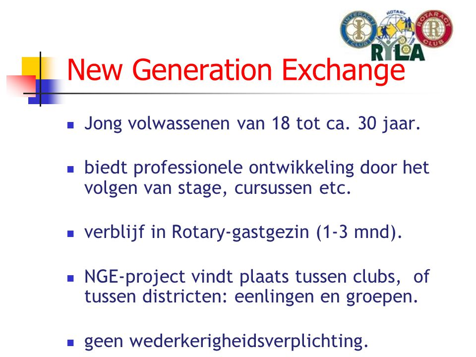 New Generation Exchange  Jong volwassenen van 18 tot ca.