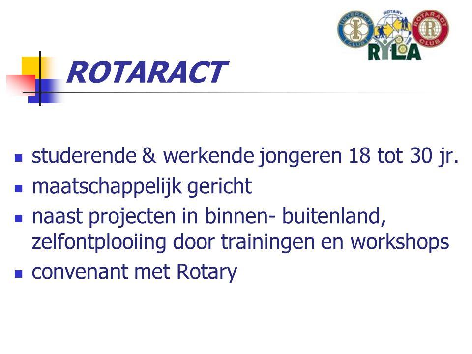 Interact  Interact wereldwijd meer dan 300.000 leden  service club voor scholieren van 14 - 18 jaar  samen iets (terug) doen voor de maatschappij  vorming door bestuursfuncties  mentor op school  koppeling aan een Rotary Club