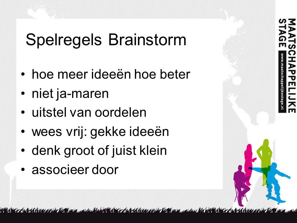 Spelregels Brainstorm •hoe meer ideeën hoe beter •niet ja-maren •uitstel van oordelen •wees vrij: gekke ideeën •denk groot of juist klein •associeer door