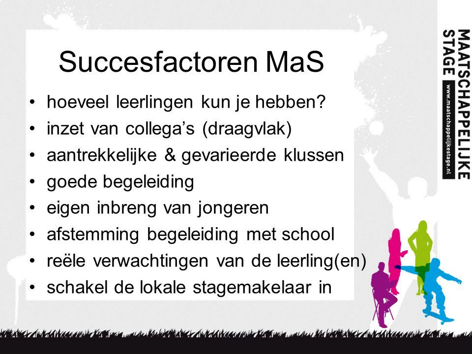 Succesfactoren MaS •hoeveel leerlingen kun je hebben.