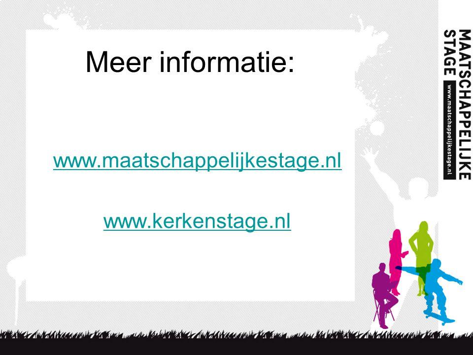 Meer informatie: www.maatschappelijkestage.nl www.kerkenstage.nl