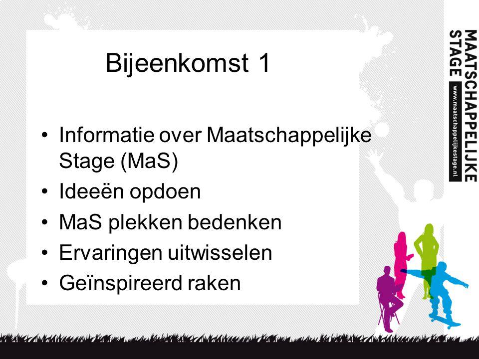 Bijeenkomst 1 •Informatie over Maatschappelijke Stage (MaS) •Ideeën opdoen •MaS plekken bedenken •Ervaringen uitwisselen •Geïnspireerd raken