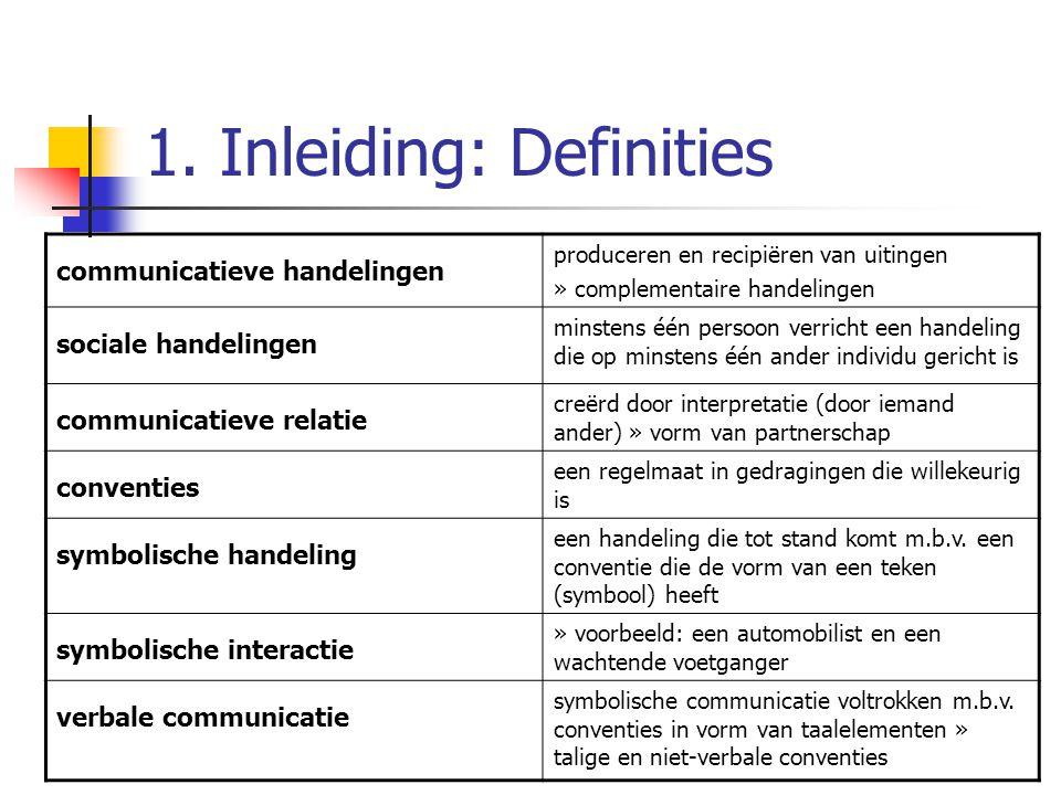 1. Inleiding: Definities communicatieve handelingen produceren en recipiëren van uitingen » complementaire handelingen sociale handelingen minstens éé