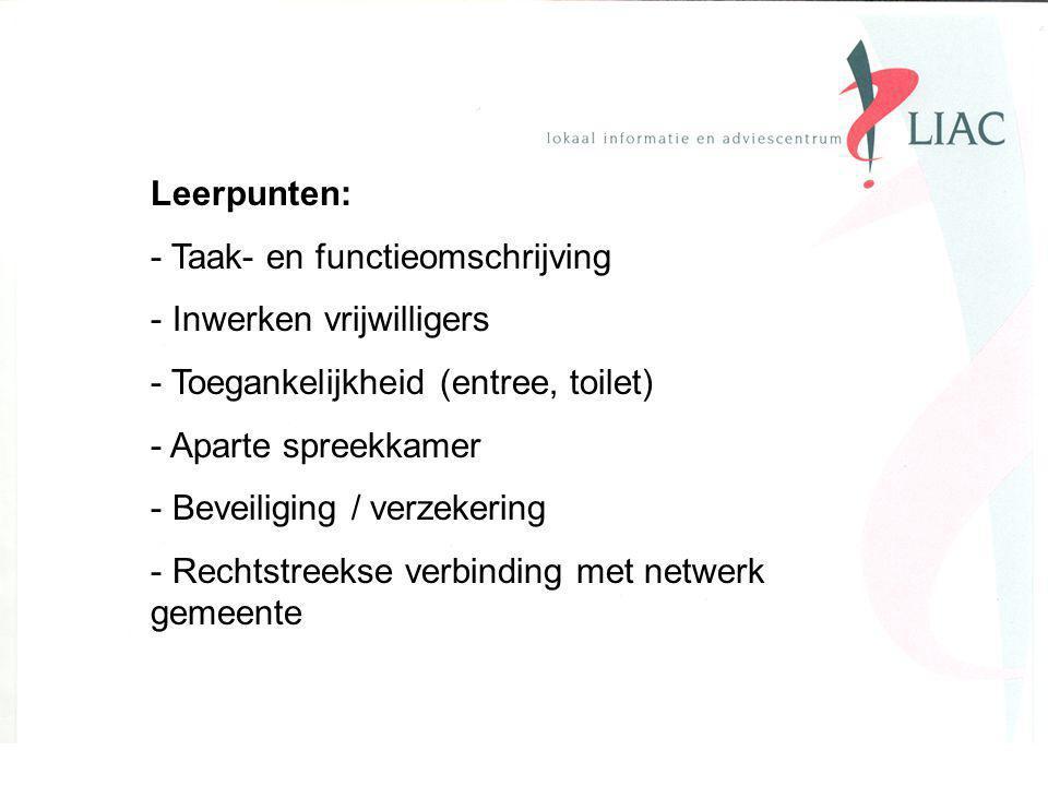 Leerpunten: - Taak- en functieomschrijving - Inwerken vrijwilligers - Toegankelijkheid (entree, toilet) - Aparte spreekkamer - Beveiliging / verzekering - Rechtstreekse verbinding met netwerk gemeente