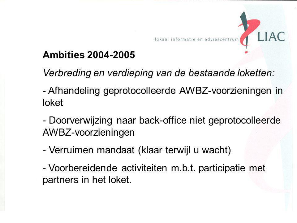 Ambities 2004-2005 Verbreding en verdieping van de bestaande loketten: - Afhandeling geprotocolleerde AWBZ-voorzieningen in loket - Doorverwijzing naar back-office niet geprotocolleerde AWBZ-voorzieningen - Verruimen mandaat (klaar terwijl u wacht) - Voorbereidende activiteiten m.b.t.