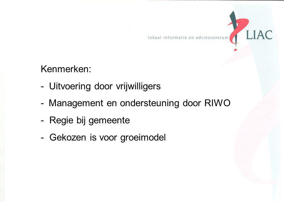 Kenmerken: - Uitvoering door vrijwilligers - Management en ondersteuning door RIWO - Regie bij gemeente - Gekozen is voor groeimodel