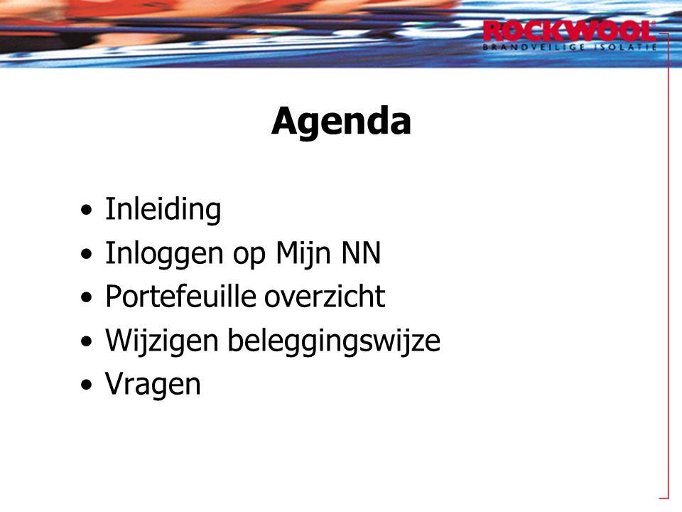 Agenda •Inleiding •Inloggen op Mijn NN •Portefeuille overzicht •Wijzigen beleggingswijze •Vragen