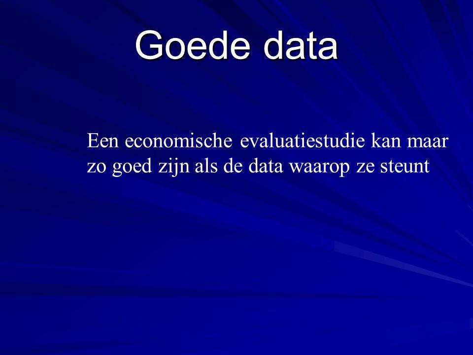 Goede data Een economische evaluatiestudie kan maar zo goed zijn als de data waarop ze steunt