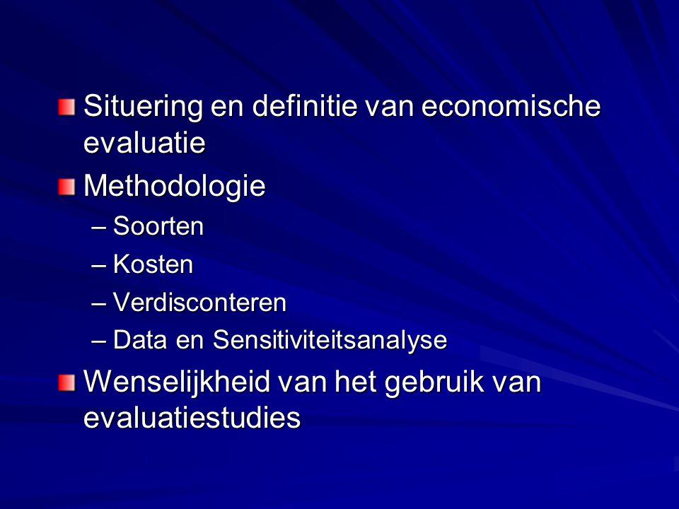 Situering en definitie van economische evaluatie Methodologie –Soorten –Kosten –Verdisconteren –Data en Sensitiviteitsanalyse Wenselijkheid van het ge