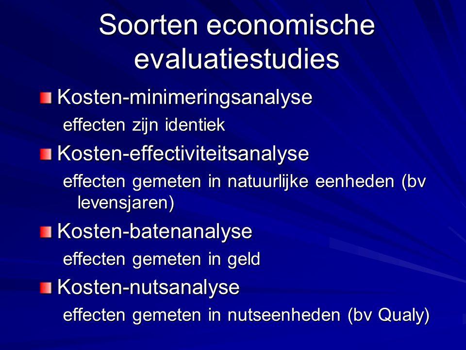 Soorten economische evaluatiestudies Kosten-minimeringsanalyse effecten zijn identiek Kosten-effectiviteitsanalyse effecten gemeten in natuurlijke een