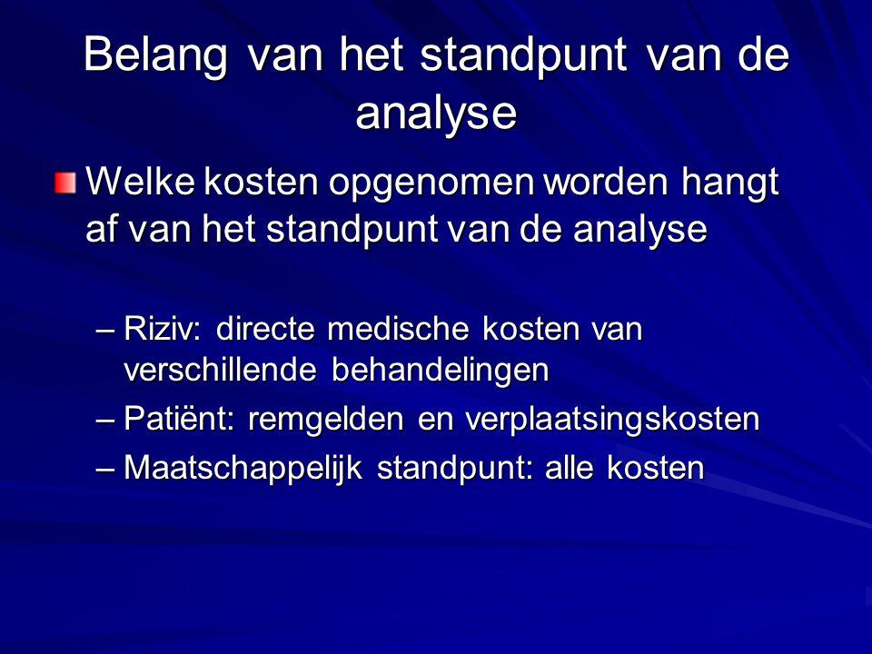 Belang van het standpunt van de analyse Welke kosten opgenomen worden hangt af van het standpunt van de analyse –Riziv: directe medische kosten van ve