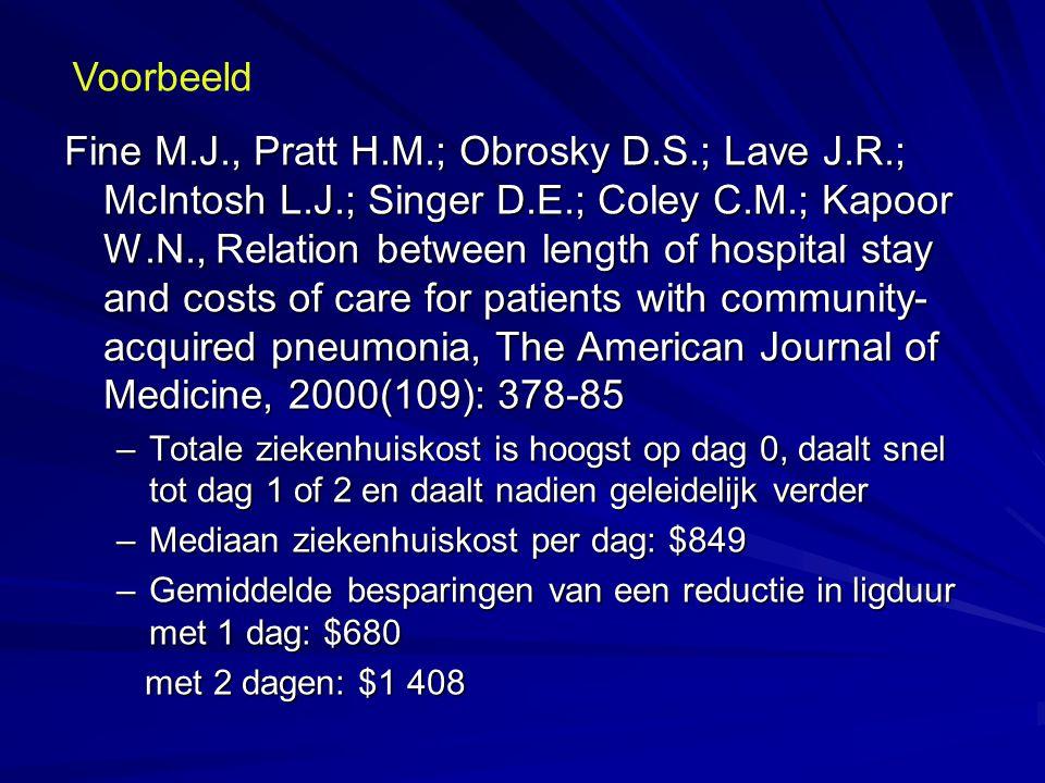 Fine M.J., Pratt H.M.; Obrosky D.S.; Lave J.R.; McIntosh L.J.; Singer D.E.; Coley C.M.; Kapoor W.N., Relation between length of hospital stay and cost