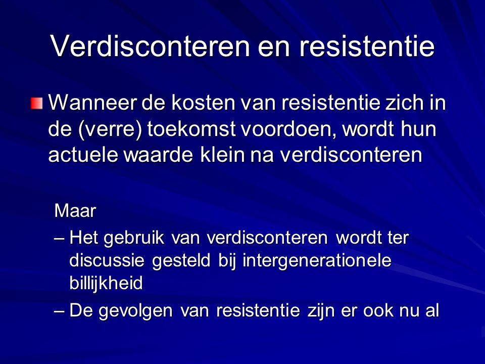 Verdisconteren en resistentie Wanneer de kosten van resistentie zich in de (verre) toekomst voordoen, wordt hun actuele waarde klein na verdisconteren