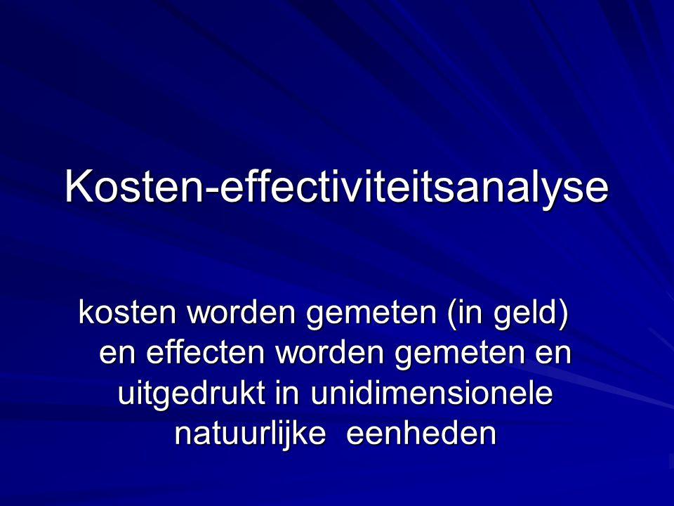 Kosten-effectiviteitsanalyse kosten worden gemeten (in geld) en effecten worden gemeten en uitgedrukt in unidimensionele natuurlijke eenheden