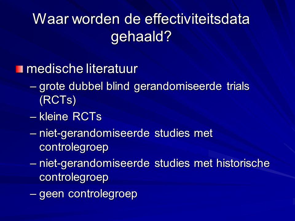 Waar worden de effectiviteitsdata gehaald? medische literatuur –grote dubbel blind gerandomiseerde trials (RCTs) –kleine RCTs –niet-gerandomiseerde st