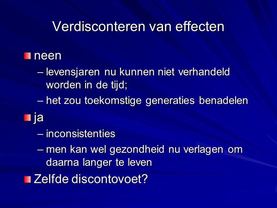 Verdisconteren van effecten neen –levensjaren nu kunnen niet verhandeld worden in de tijd; –het zou toekomstige generaties benadelen ja –inconsistenti