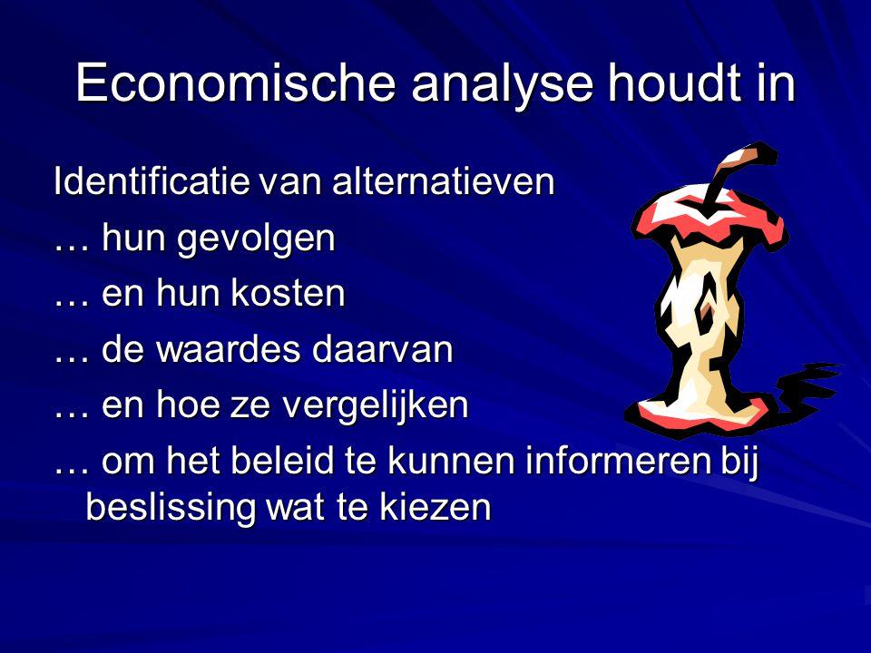 Economische analyse houdt in Identificatie van alternatieven … hun gevolgen … en hun kosten … de waardes daarvan … en hoe ze vergelijken … om het bele