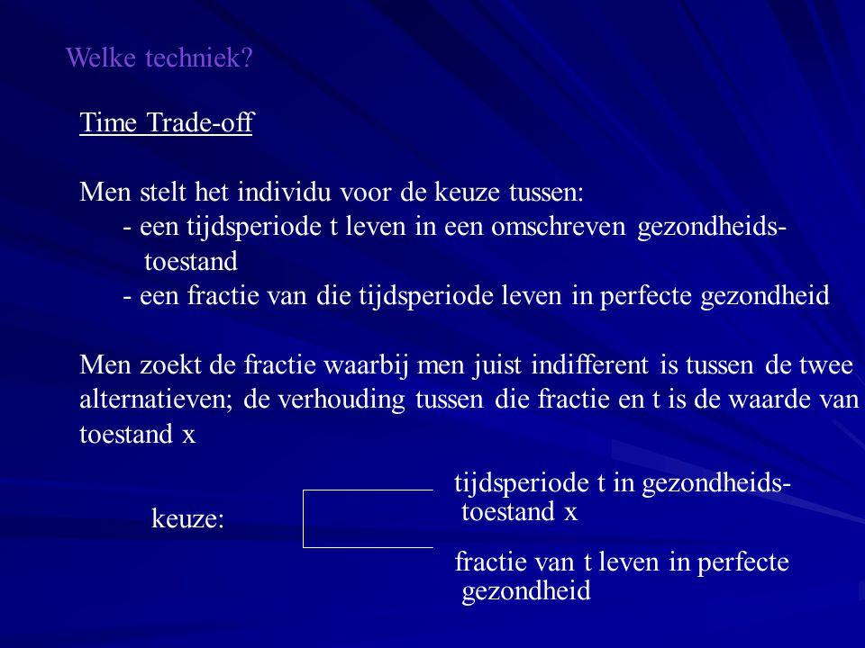 Welke techniek? Time Trade-off Men stelt het individu voor de keuze tussen: - een tijdsperiode t leven in een omschreven gezondheids- toestand - een f
