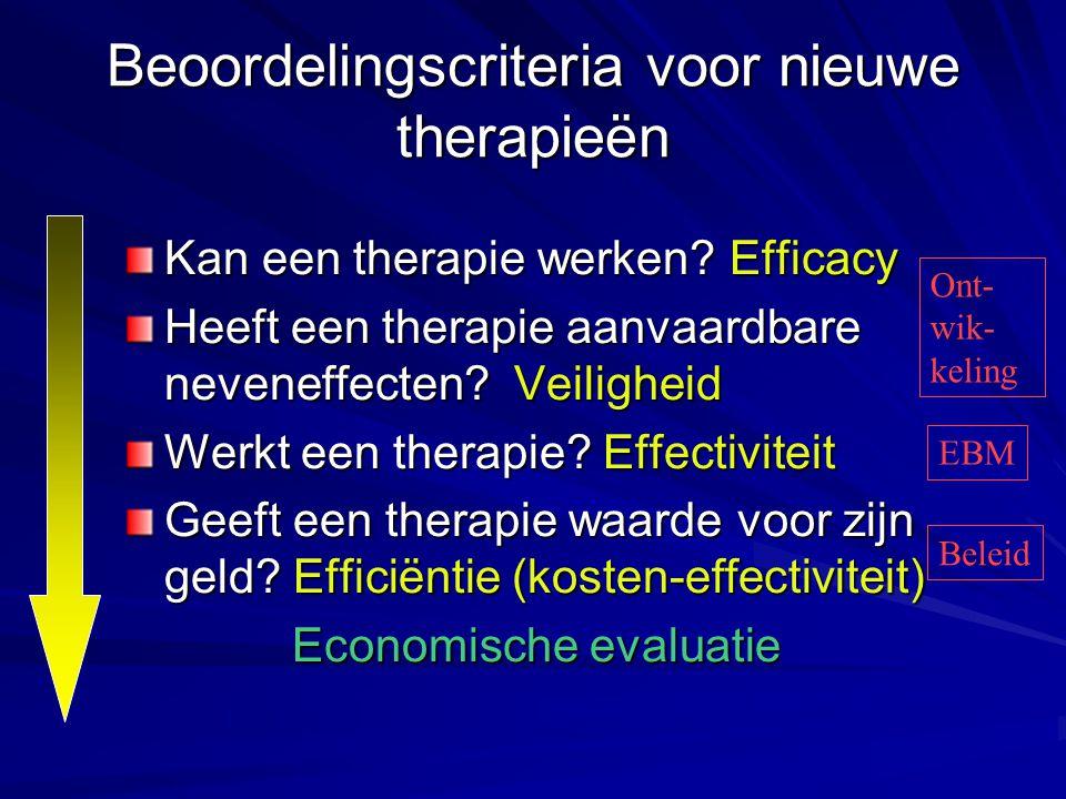 Beoordelingscriteria voor nieuwe therapieën Kan een therapie werken? Efficacy Heeft een therapie aanvaardbare neveneffecten? Veiligheid Werkt een ther