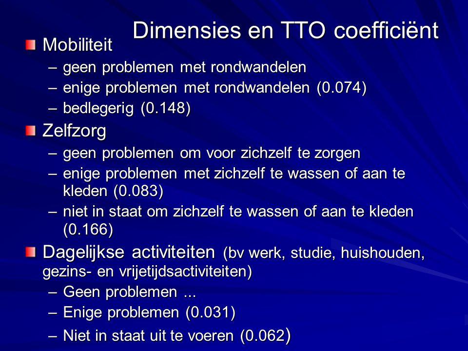 Dimensies en TTO coefficiënt Mobiliteit –geen problemen met rondwandelen –enige problemen met rondwandelen (0.074) –bedlegerig (0.148) Zelfzorg –geen