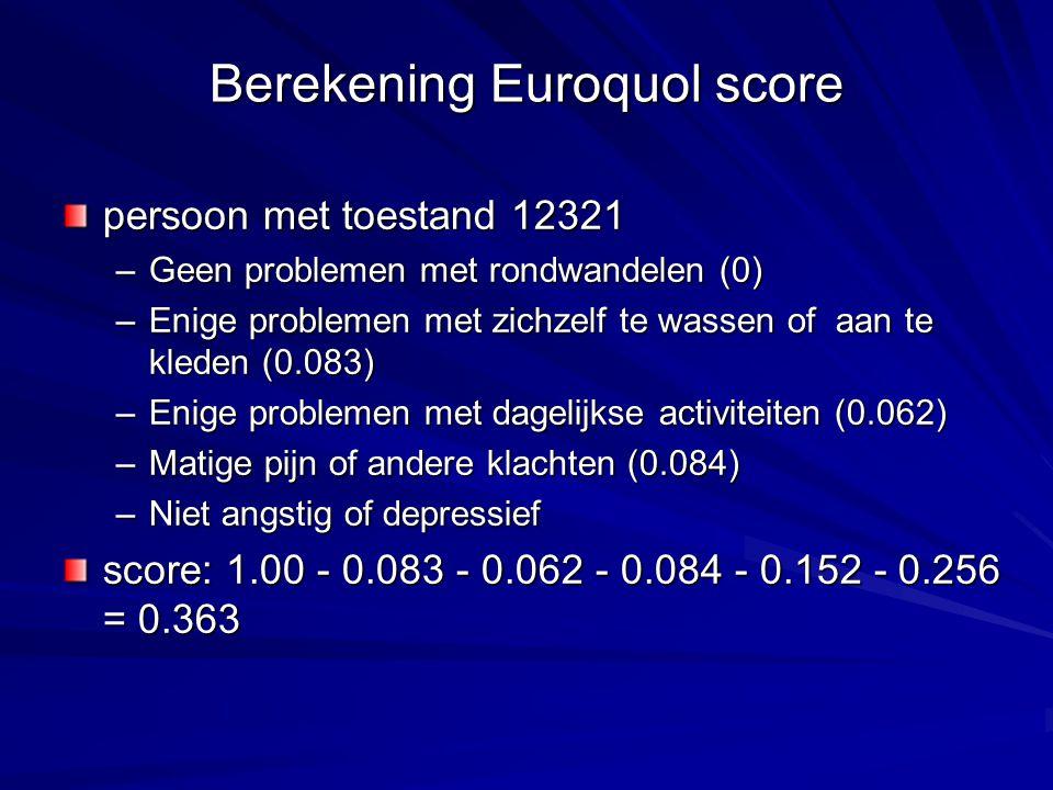 Berekening Euroquol score persoon met toestand 12321 –Geen problemen met rondwandelen (0) –Enige problemen met zichzelf te wassen of aan te kleden (0.