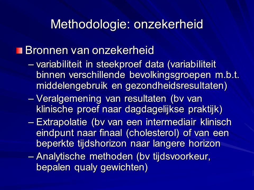 Methodologie: onzekerheid Bronnen van onzekerheid –variabiliteit in steekproef data (variabiliteit binnen verschillende bevolkingsgroepen m.b.t. midde
